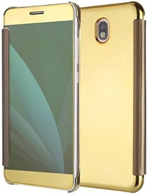 TGK Flip Cover for Samsung Galaxy J7 Pro Luxury Clear View Mirror Flip Book Smart Case Cover(Gold, Shock Proof)