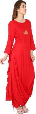 Metro Fashion Embroidered Women Flared Kurta(Red)