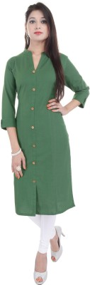 Fab Attire Formal Solid Women Kurti(Green)