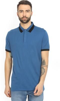 Arrow New York Solid Men's Polo Neck Blue T-Shirt
