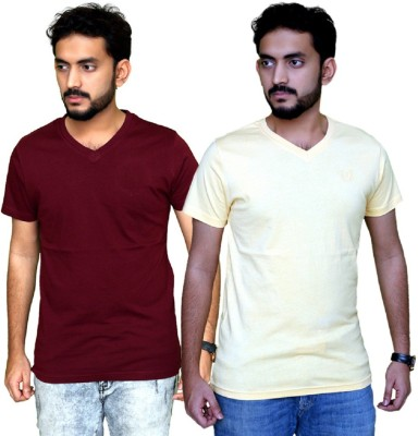 PLANET69 Solid Men V-neck Maroon, Yellow T-Shirt