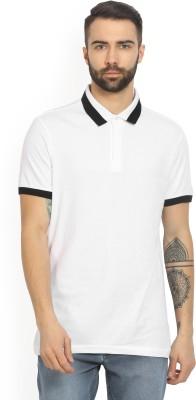 Arrow New York Solid Men's Polo Neck White T-Shirt