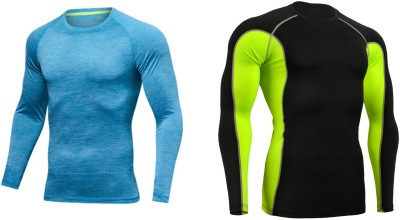 ZESTEEZ Solid Men Round Neck Blue, Black, Light Green T-Shirt(Pack of 2)