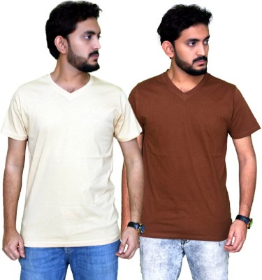 PLANET69 Solid Men V-neck Yellow, Brown T-Shirt
