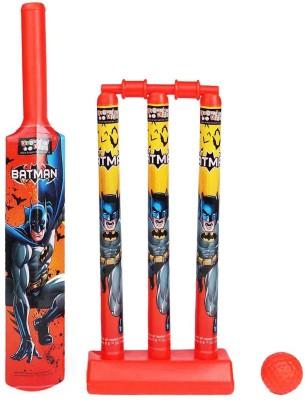 Batman Batman Mini Cricket Set with 1 Plastic Bat & Ball, 3 Wickets, Base and Bail Cricket Kit