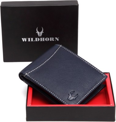 WildHorn Men Casual Blue Genuine Leather Wallet(7 Card Slots)