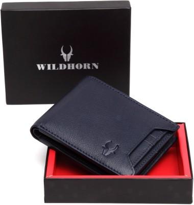 WildHorn Men Casual Blue Genuine Leather Wallet(11 Card Slots)