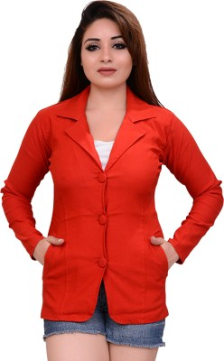 AAKRITHI Solid Single Breasted Formal Women Blazer(Red)