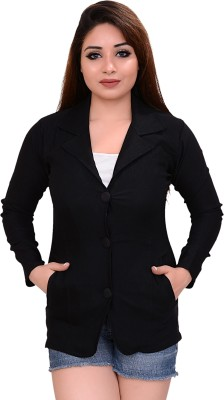AAKRITHI Solid Single Breasted Casual Women Blazer(Black)