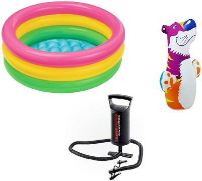DINAARKAN COMBO OF 2 FEET BATH TUB AND 3 FEET INFLATABLE HIT ME TIGER WITH AIR PUMP Inflatable Pool(Multicolor)