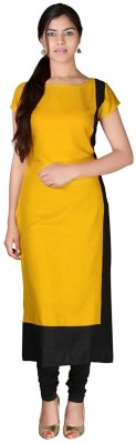 PAVITRA Women Solid Straight Kurta(Yellow)