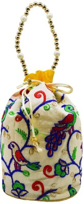 Bagaholics Ethnic Silk Clutch Potli Batwa Pouch Bag with Embroidery work Gift For Women Potli(Yellow)  available at flipkart for Rs.199