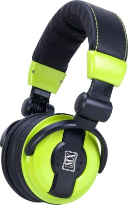 MX Value On Ear DJ Headphones with Swivelling Ear Cups & Included Carry Bag DJ 1000-Green Wired Headset without Mic(Green and Black, Wireless over the head)