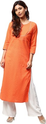 Jaipur Kurti Women Solid Straight Kurta(Orange)