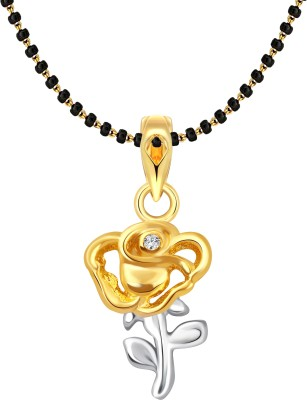 Vighnaharta Little Rose MSPG 18K Yellow Gold Cubic Zirconia Alloy Pendant