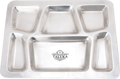 """Taluka (15.7\"""" x 11.9\"""" inches) Pure Stainless Steel 6 in 1 Compartment Plate Thali Bhojan Thali Steel Plate Plate"""