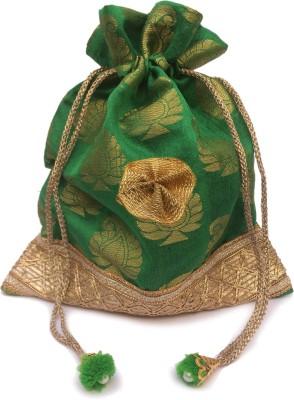 Shubh Shagun Ethnic handbag Pouch Potli(Green)  available at flipkart for Rs.109