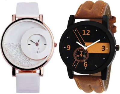 MAPA STYLE Attractive Stylish White Mxre & Lorem Genium Brown Leather Strap 2 Combo Girls & Boys Analog Watch MPSTYLE 091 Hybrid Watch  - For Men & Women