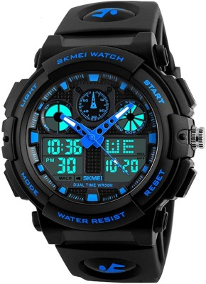 Skmei Analog Digital Skmei Analogue Digital Black Dial Black Strap Watch for Men Analog-Digital Watch - For Men
