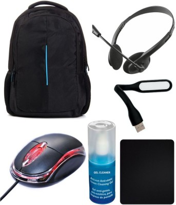 Anweshas 6 in 1 Combo of Laptop Bag Backpack Compatible For HP with Headphone Mic, Usb Led Light, Terabyte Usb Optical Mouse, Gel Cleaning Kit and Mouse Pad Combo Set