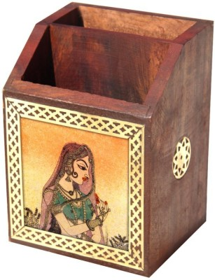 HANDICRAFTS PARADISE 2 Compartments Wooden Pen Stand(Multicolor)