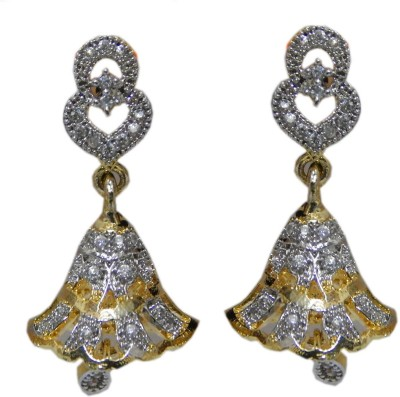 Pourni Pourni Gold plated exclusive Designer American Diamond Jhumka Earring -PRER107 Cubic Zirconia Alloy Drop Earring  available at flipkart for Rs.351