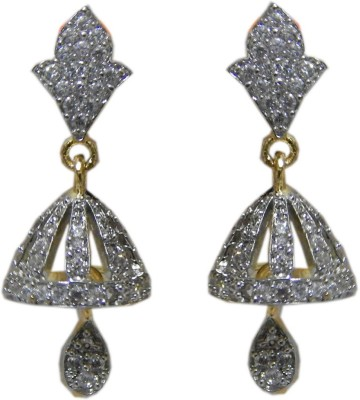 Pourni Pourni Gold Plated exclusive Designer American Diamond Jhumka Earring -PRER103 Cubic Zirconia Alloy Drop Earring  available at flipkart for Rs.299