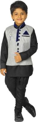 Ahhaaaa Boy's Casual Kurta, Waistcoat and Pyjama Set(Blue Pack of 1)
