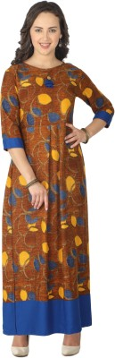 Jaipur Attire Printed Women Flared Kurta(Blue)