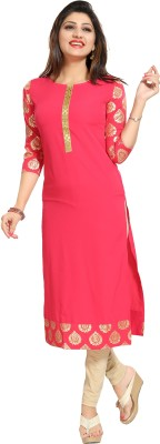 ALC Creations Self Design Women Straight Kurta(Orange, Gold)