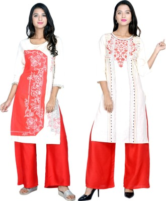 Stylum Festive & Party Printed Women Kurti(Pack of 2, Red, Blue)