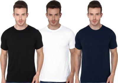 Ovicity Solid Men Round Neck White, Black, Dark Blue T-Shirt(Pack of 3) Flipkart