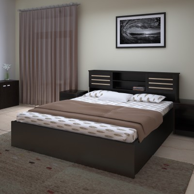 Spacewood Engineered Wood King Bed With Storage(Finish Color -  Natural Teak)