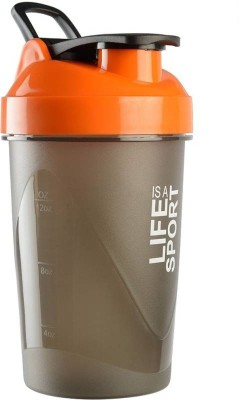 PRiQ Sports Protein ShakeR/Sipper / Gym Bottle / Water Bottle with New Design Plastic Ball 500 ml Shaker(Pack of 1, Orange)