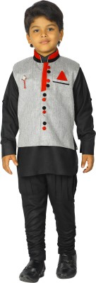 Ahhaaaa Boy's Casual Kurta, Waistcoat and Pyjama Set(Red Pack of 1)