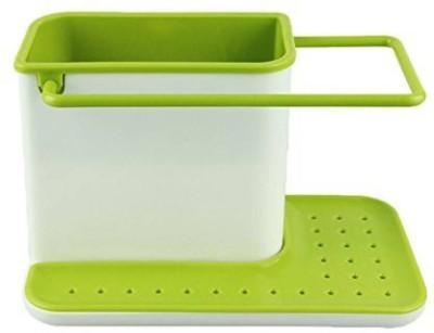 SND Sink Caddy Organiser Stand Plastic Kitchen Rack(White, Green)  available at flipkart for Rs.415