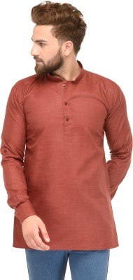 Ben Martin Solid Men Straight Kurta(Maroon)