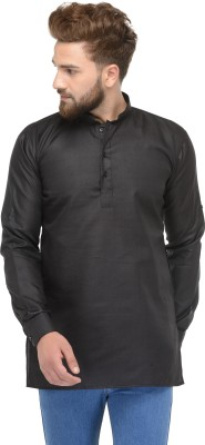 Ben Martin Solid Men Straight Kurta(Black)