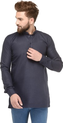 Ben Martin Solid Men Straight Kurta(Dark Blue)