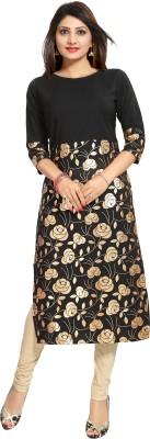 ALC Creations Women Floral Print Straight Kurta(Black, Gold)