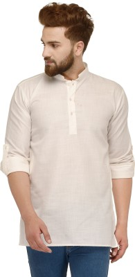 Ben Martin Solid Men Straight Kurta(White)