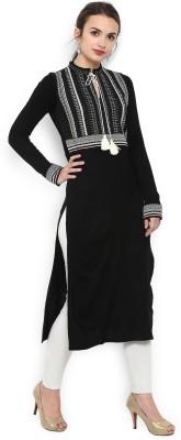W Women Self Design Straight Kurta(Black, White)