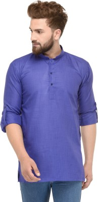 Ben Martin Solid Men Straight Kurta(Blue)