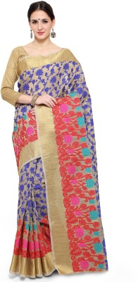 The Fashion Outlets Woven Kanjivaram Brasso, Silk Saree(Blue, Red)