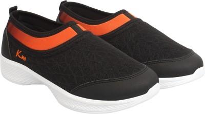KazarMax Merging Ombre Slip On Sneakers For Women(Black, Orange)