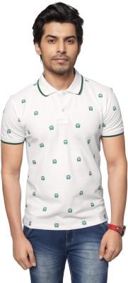 ZEYO Printed Men's Polo Neck White T-Shirt