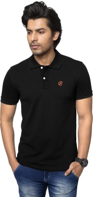 ZEYO Solid Men's Polo Neck Black T-Shirt