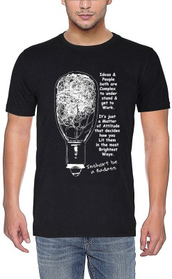 mebadass Printed Men Round Neck Black T-Shirt