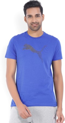 Puma Color block Men Round Neck Blue, Black T-Shirt