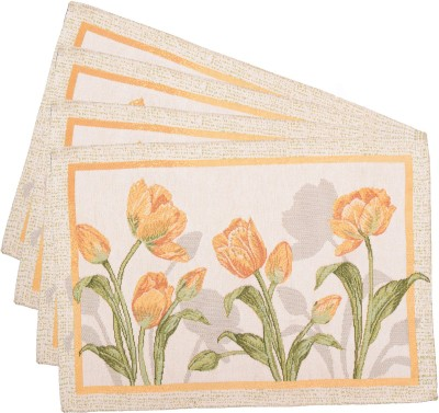 Avira Home Rectangular Pack of 4 Table Placemat Yellow, Polyester